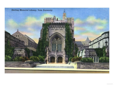 New Haven, Connecticut - Yale University Sterling Memorial Library Exterior View Poster by  Lantern Press