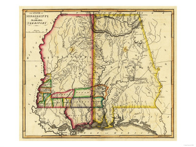 Mississippi and Alabama - Panoramic Map Poster by  Lantern Press