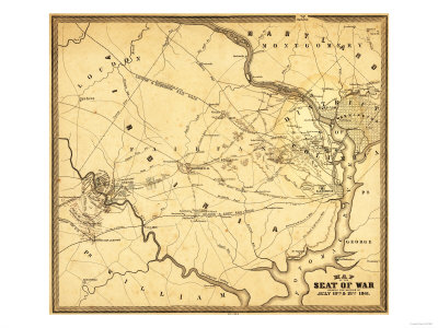 First Battle of Bull Run - Civil War Panoramic Map Poster by  Lantern Press