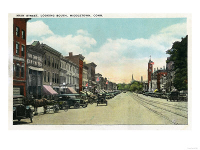 Middletown, Connecticut - Southern View Down Main Street Print by  Lantern Press