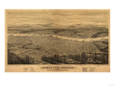 Oregon - Map of Portland Print by  Lantern Press