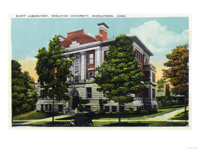 Middletown, Connecticut - Exterior View of Scott Laboratory, Wesleyan University Poster by  Lantern Press