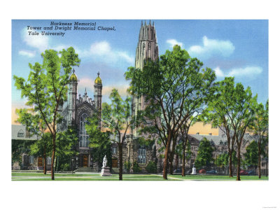 New Haven, CT - View of Harkness Memorial Tower, Dwight Chapel, Yale U Posters by  Lantern Press