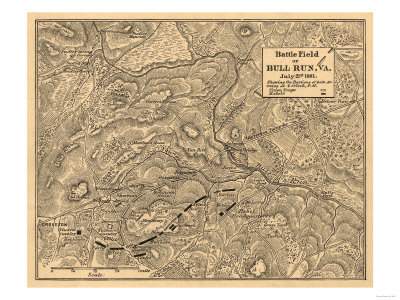 First Battle of Bull Run - Civil War Panoramic Map Posters by  Lantern Press