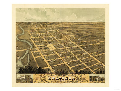 Owatonna, Minnesota - Panoramic Map Posters by  Lantern Press