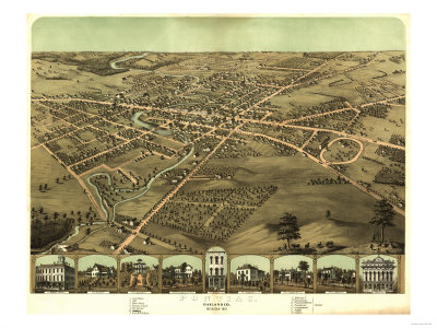 Pontiac, Michigan - Panoramic Map Posters by  Lantern Press