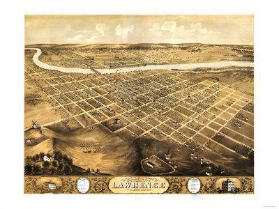 Lawrence, Kansas – Panoramic Map Print by  Lantern Press