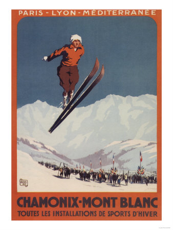 Chamonix Mont-Blanc, France - Ski Jump Print by  Lantern Press