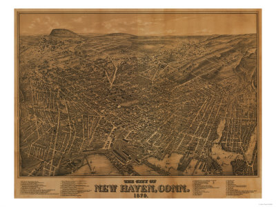 New Haven, Connecticut - Panoramic Map Posters by  Lantern Press