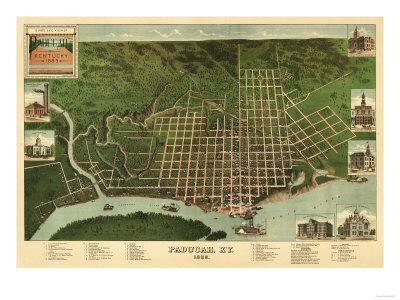 Paducah, Kentucky - Panoramic Map Print by  Lantern Press