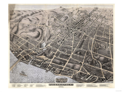 Poughkeepsie, New York - Panoramic Map Print by  Lantern Press