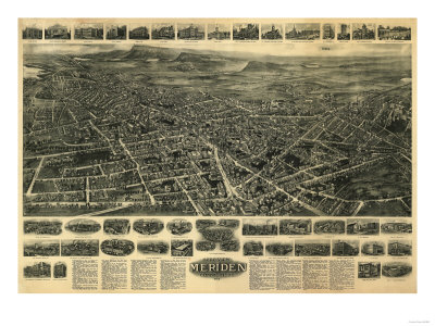 Meriden, Connecticut - Panoramic Map Posters by  Lantern Press