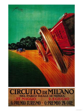 Circuito Di Milano Vintage Poster - Europe Print by  Lantern Press