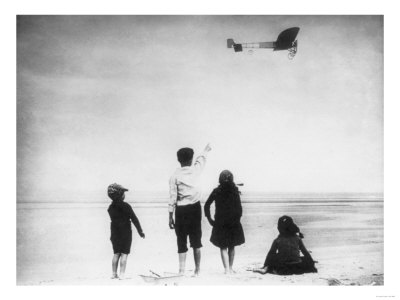 Children Watching Louis Bleriot Flying Plane Photograph - Calais, France Art Print