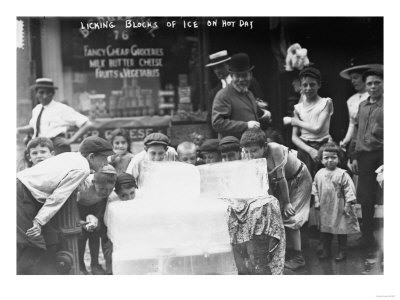 Children Licking Blocks of Ice on Hot Day Photograph Posters by  Lantern Press
