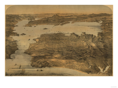San Francisco, California - Panoramic Map No. 3 Posters by  Lantern Press