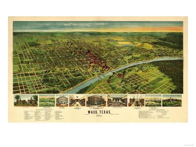 Waco, Texas - Panoramic Map Poster by  Lantern Press