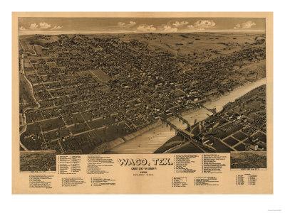 Waco, Texas – Panoramic Map Posters by  Lantern Press