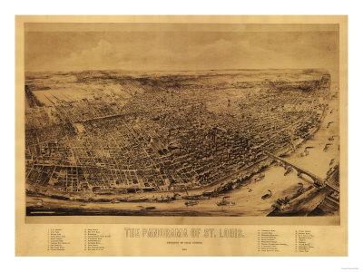 Saint Louis, Missouri - Panoramic Map Print by  Lantern Press