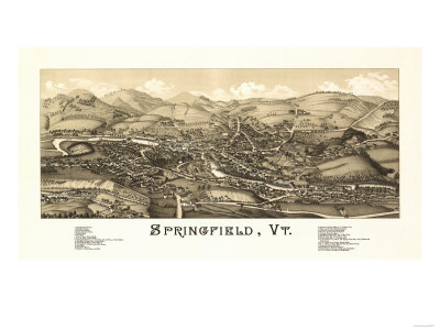 Springfield, Vermont – Panoramic Map Print by  Lantern Press