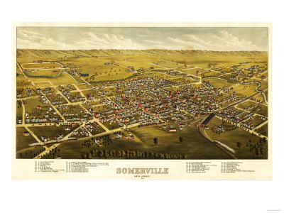 Somerville, New Jersey - Panoramic Map Posters by  Lantern Press