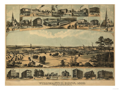 Willimantic, Connecticut - Panoramic Map Posters by  Lantern Press