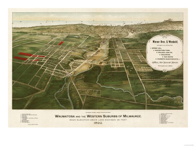Wauwatosa, Wisconsin - Panoramic Map Posters by  Lantern Press