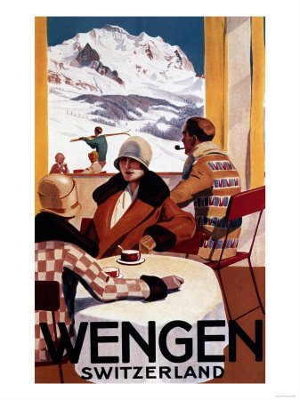Wengen, Switzerland - The Downhill Club Promotional Poster Reproduction d'art
