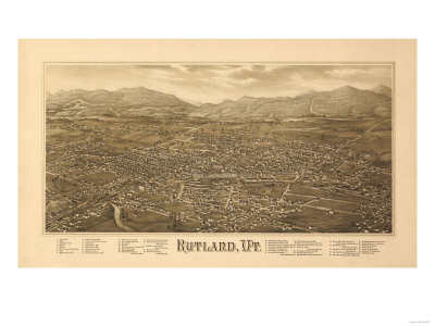 Rutland, Vermont - Panoramic Map Posters by  Lantern Press