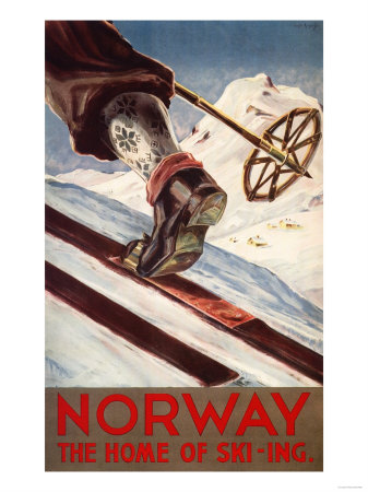 Norway - The Home of Skiing Prints by  Lantern Press