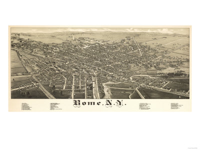 Rome, New York - Panoramic Map Print by  Lantern Press