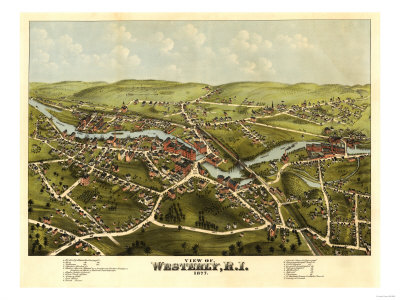 Westerly, Rhode Island - Panoramic Map Print by  Lantern Press