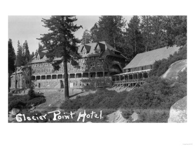 Exterior View of the Glacier Point Hotel - Yosemite National Park, CA Prints by  Lantern Press