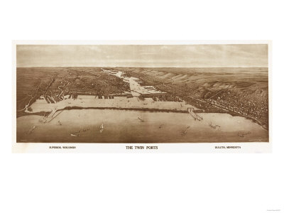 Superior-Duluth, Wisconsin - Panoramic Map Poster by  Lantern Press