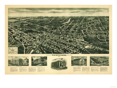 Westwood, New Jersey - Panoramic Map Posters by  Lantern Press