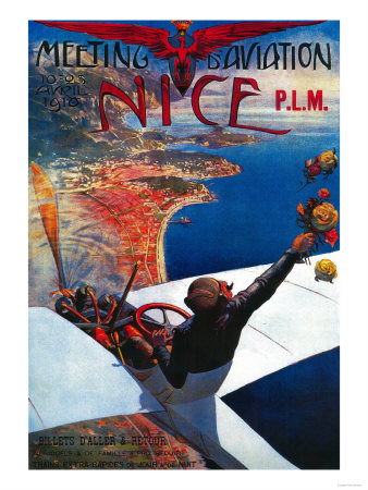 Meeting D' Aviation in Nice, France Poster - Europe Art Print