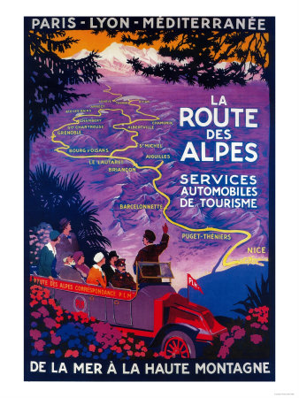 La Route Des Alpes Vintage Poster - Europe Art by  Lantern Press
