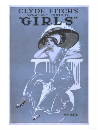 """Clyde Fitch's Greatest Comedy, """"Girls"""" Theatre Poster No.2 Prints by  Lantern Press"""