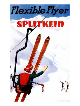 Flexible Flyer Splitkein Wooden Skis Promotional Poster Prints by  Lantern Press