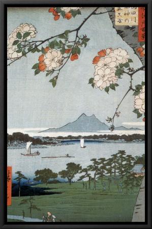 Suigin Grove and Masaki Framed Canvas Print by Ando Hiroshige