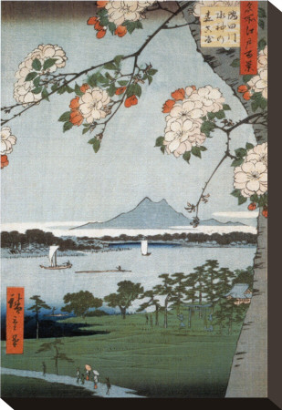 Suigin Grove and Masaki Stretched Canvas Print by Ando Hiroshige