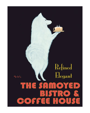 Samoyed Bistro Collectable Print by Ken Bailey