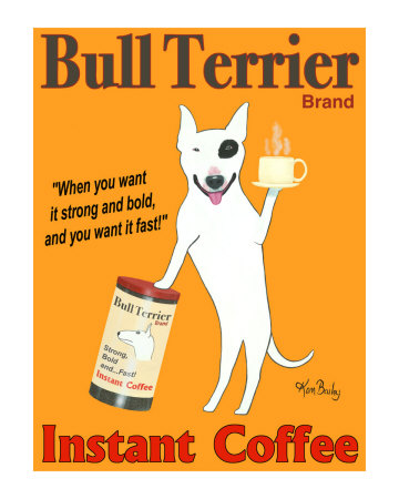Bull Terrier Coffee Collectable Print by Ken Bailey
