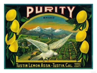 Purity Lemon Label - Tustin, CA Poster by  Lantern Press