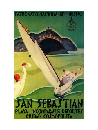 San Sebastian Vintage Poster - Europe Posters af  Lantern Press