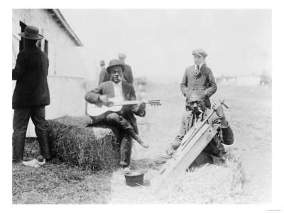 Men Playing Kazoos and Guitar Photograph Poster by  Lantern Press