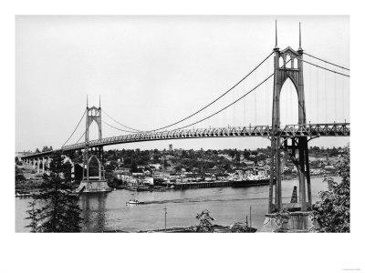 Portland, OR View of St. John Bridge over Columbia Photograph - Portland, OR Prints by  Lantern Press