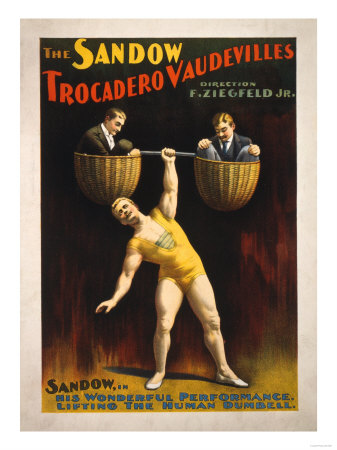 The Sandow Trocadero Vaudevilles Weightlifting Poster Print by  Lantern Press