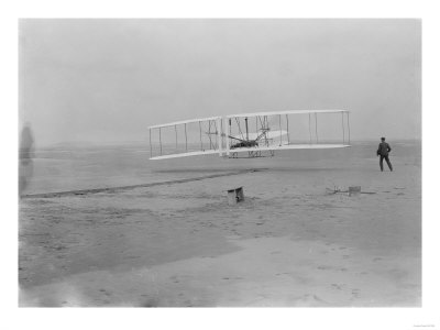 Orville Wright on First Flight at 120 feet Photograph - Kitty Hawk, NC Prints by  Lantern Press
