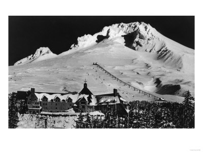 Aerial View of Timberline Lodge and Ski Lift - Mt. Hood, OR Prints by  Lantern Press